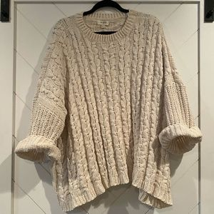 Oversized Soft Roll Cuff Cable Knit Sweater
